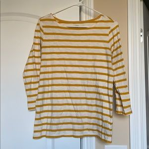 Mustard stripe 3/4 length sleeve tee